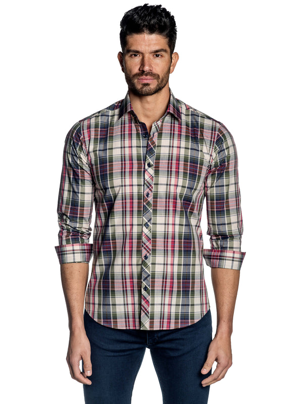 Off-White Navy Pink Plaid Shirt for Men OT-108 - Front - Jared Lang