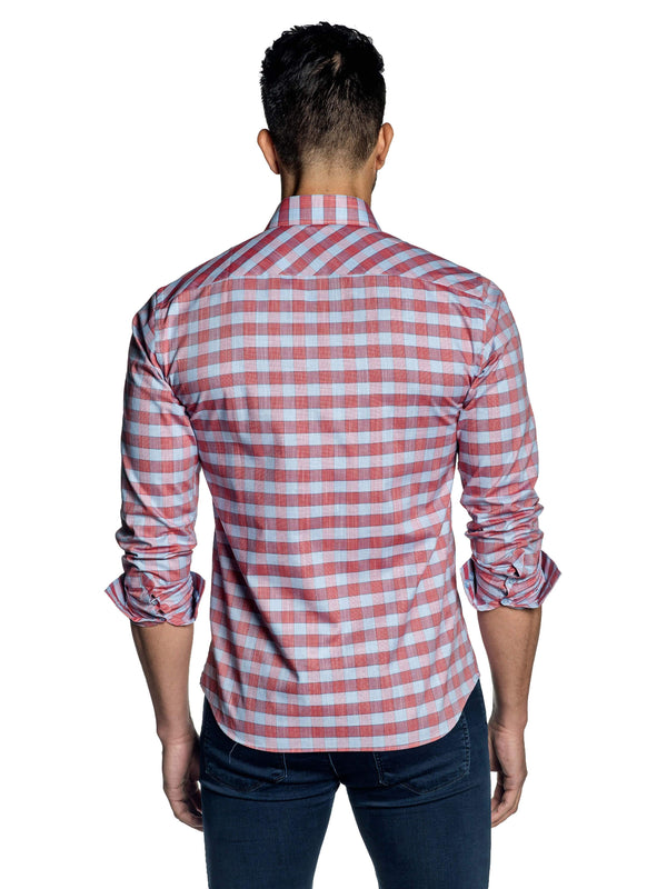 Light Blue Red Check Shirt for Men OT-111 - Back - Jared Lang