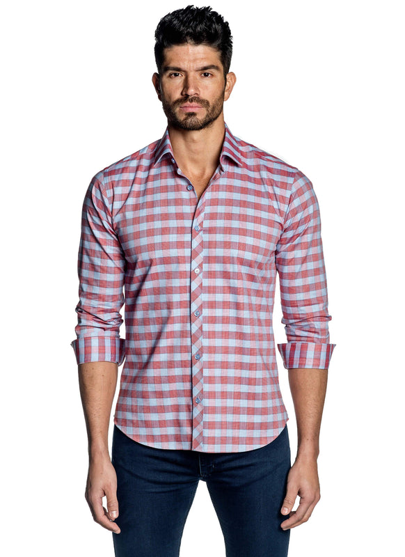 Light Blue Red Check Shirt for Men OT-111 - Front - Jared Lang