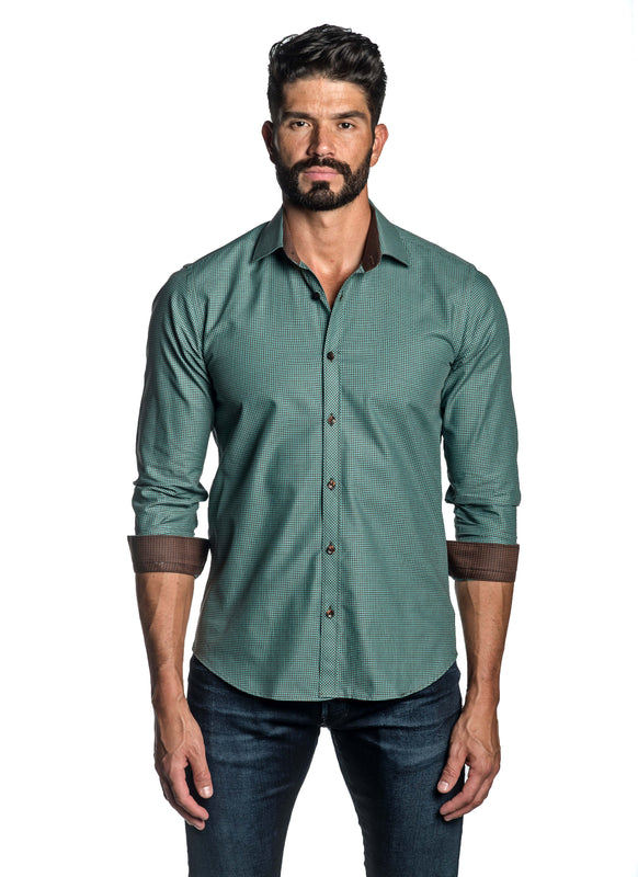 Green Gingham Shirt for Men Front OT-2642 - Jared Lang