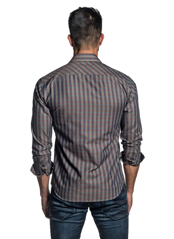Brown Check Shirt for Men OT-2650 - Back - Jared Lang