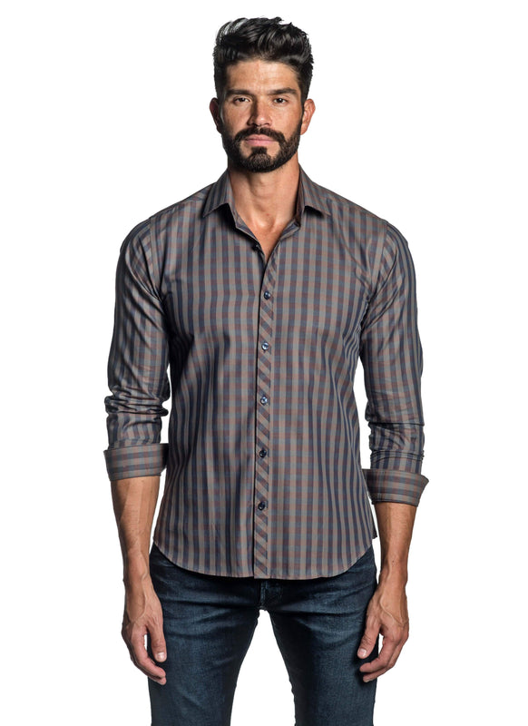Brown Check Shirt for Men OT-2650 - Front - Jared Lang