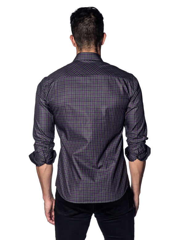 Purple Grey Plaid Shirt for Men OT-320