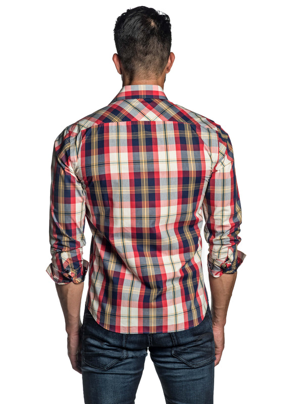 Red Blue Plaid Shirt for Men OT-8817 - Back - Jared Lang
