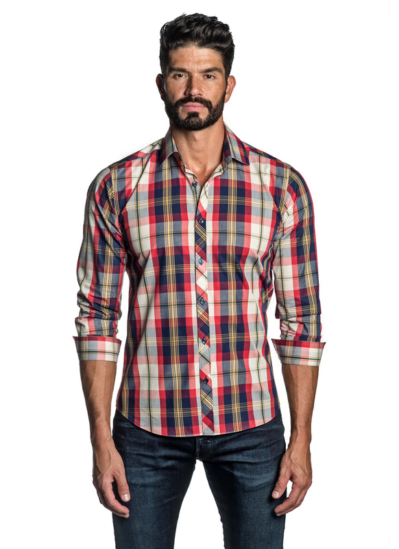 Red Blue Plaid Shirt for Men OT-8817 - Front - Jared Lang