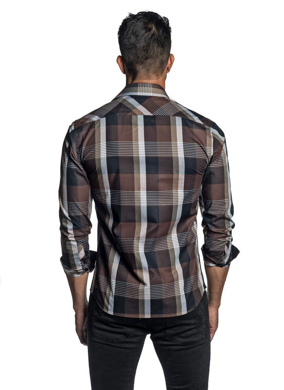 Brown Plaid Shirt for Men OT-8823 - Back - Jared Lang