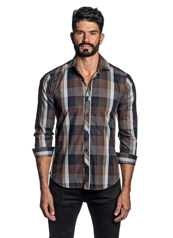 Brown Plaid Shirt for Men OT-8823 - Front - Jared Lang