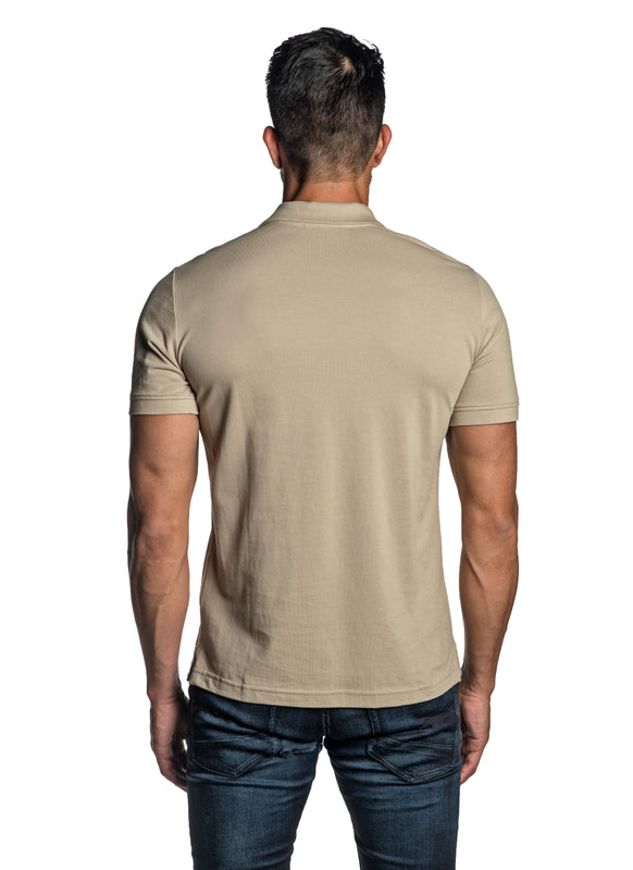 Sand Beige with Dinosaur Pima Cotton Polo for Men P-42 - Back - Jared Lang