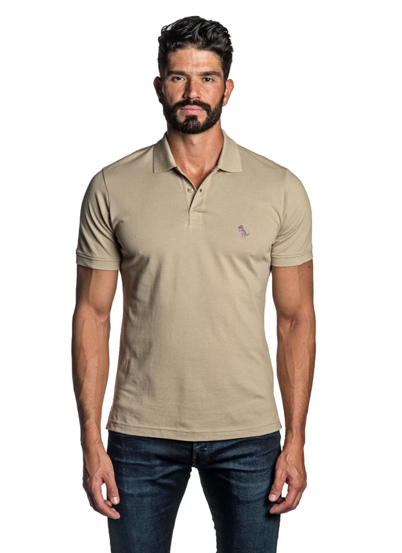 Sand Beige with Dinosaur Pima Cotton Polo for Men P-42 - Front - Jared Lang