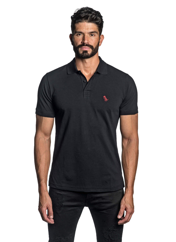 Black with Dinosaur Pima Cotton Polo for Men P-43 - Front - Jared Lang