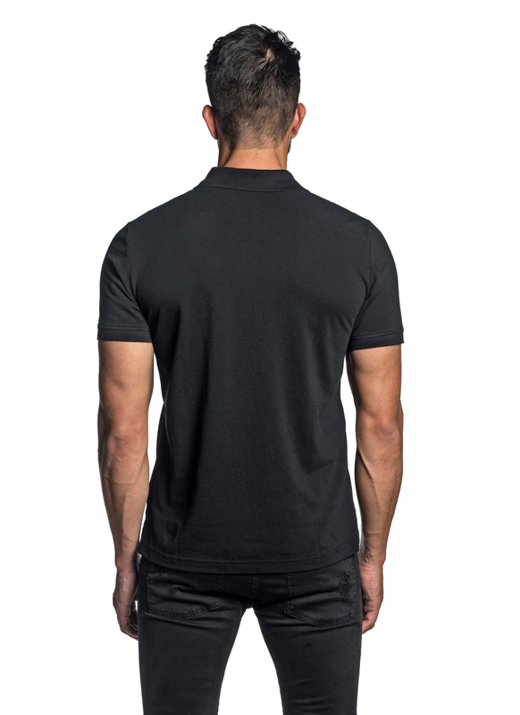 Black with Dinosaur Pima Cotton Polo for Men P-43 - Back - Jared Lang