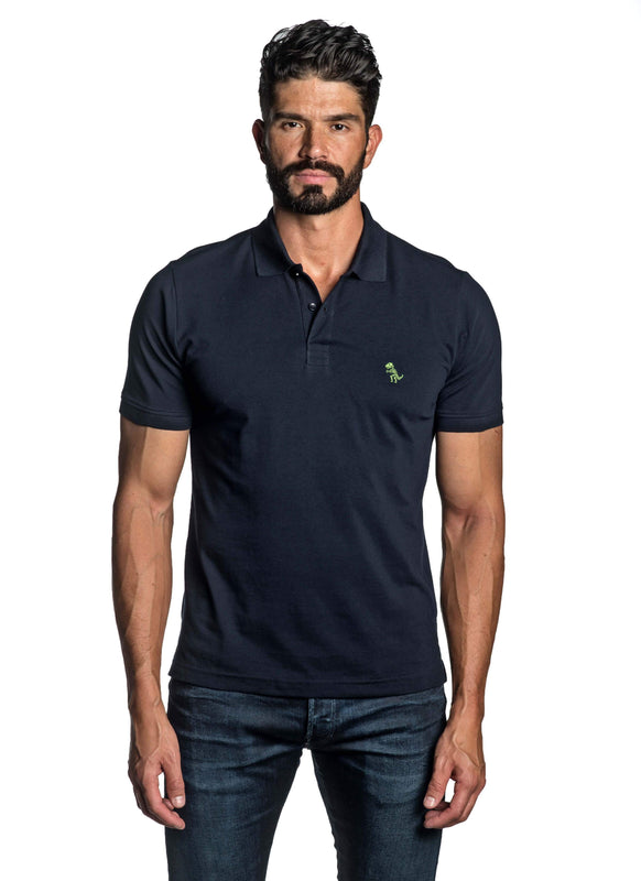 Black with Dinosaur Pima Cotton Polo for Men P-44 - Front - Jared Lang