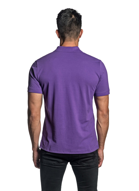 Purple with Dinosaur Pima Cotton Polo for Men P-45 - Back - Jared Lang
