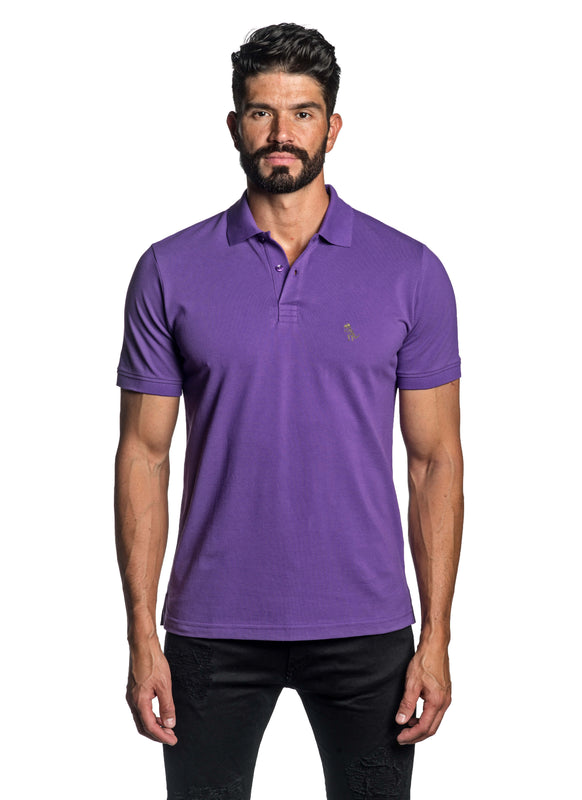 Purple with Dinosaur Pima Cotton Polo for Men P-45 - Front - Jared Lang
