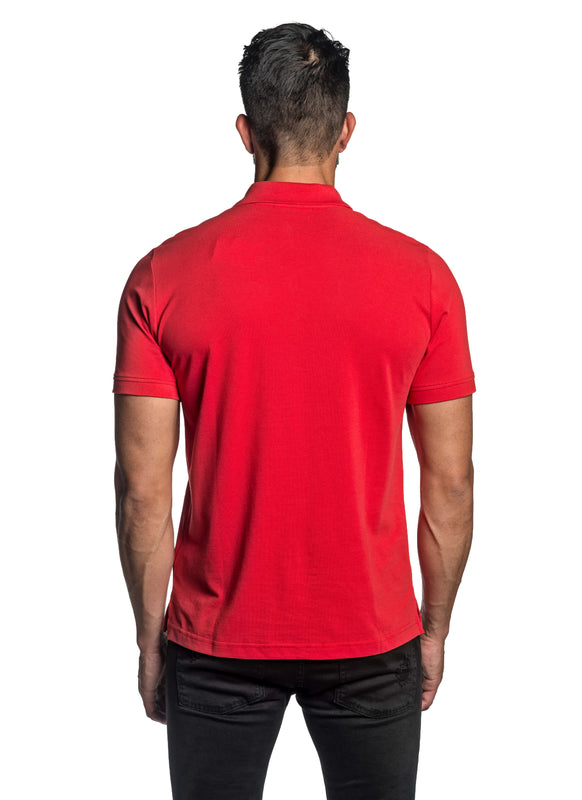 Red with Dinosaur Pima Cotton Polo for Men P-46 - Back - Jared Lang