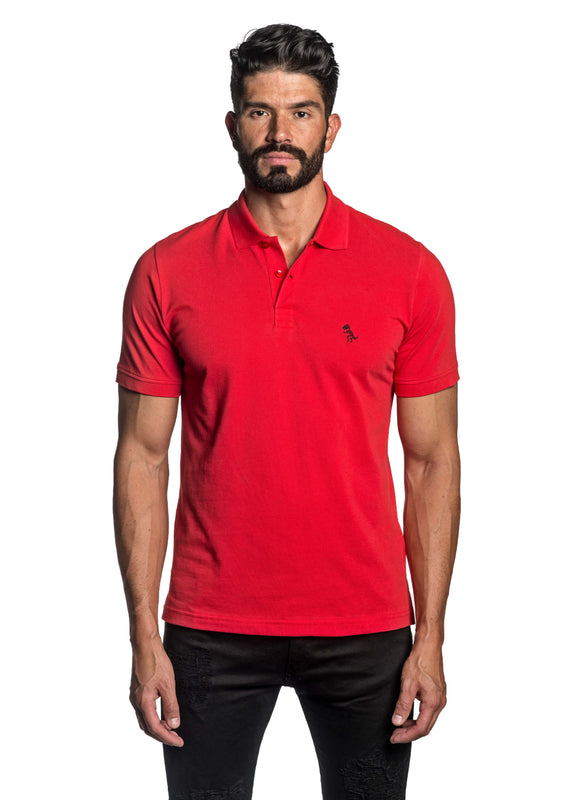 Red with Dinosaur Pima Cotton Polo for Men P-46 - Front - Jared Lang