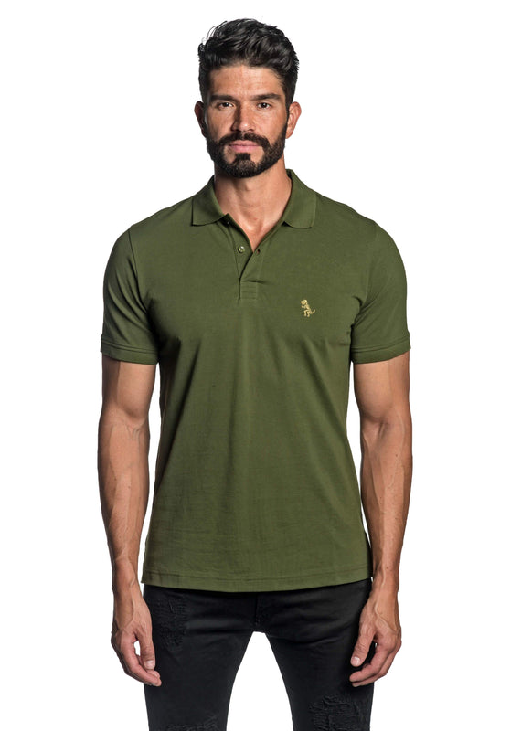 Military Green with Dinosaur Pima Polo for Men P-47 - Front - Jared Lang