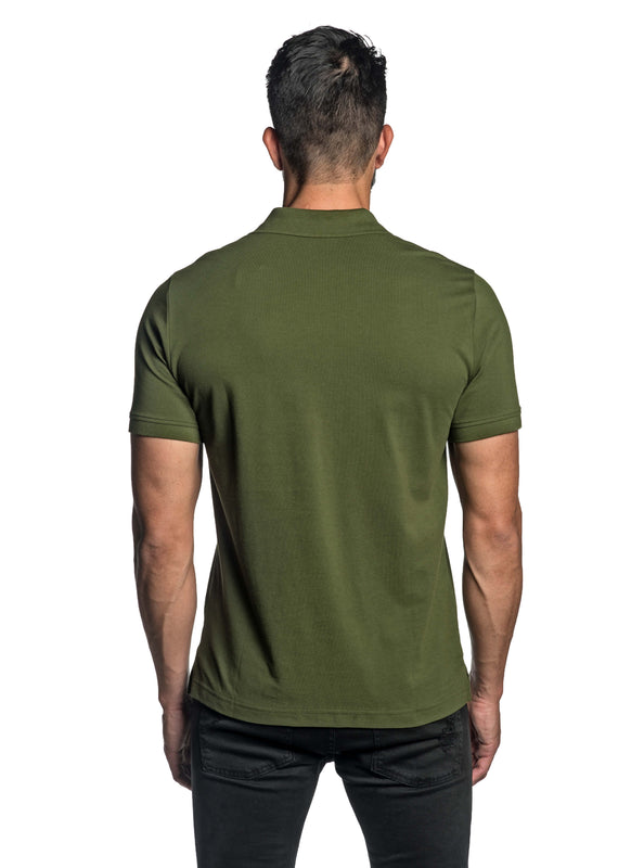 Military Green with Dinosaur Pima Polo for Men P-47 - Back - Jared Lang