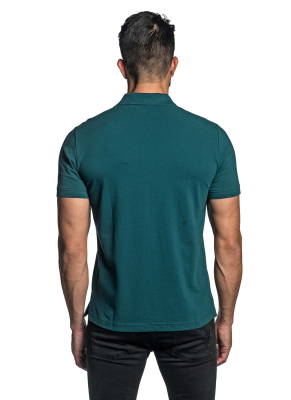 Teal with Dinosaur Pima Cotton Polo for Men P-48 - Back - Jared Lang