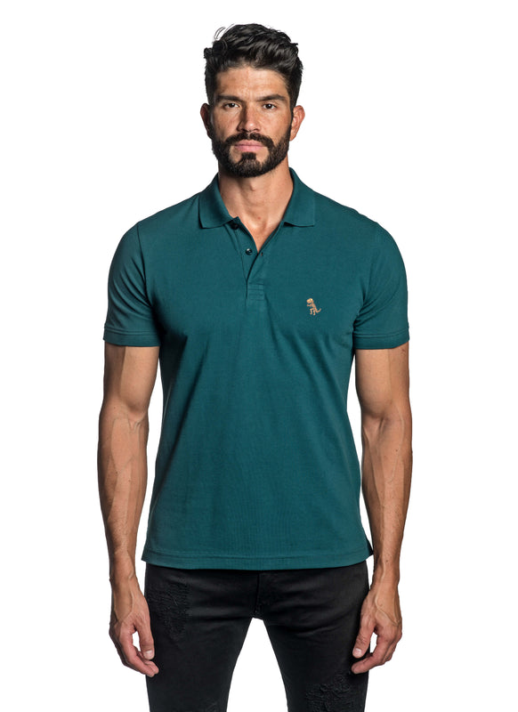 Teal with Dinosaur Pima Cotton Polo for Men P-48 - Front - Jared Lang