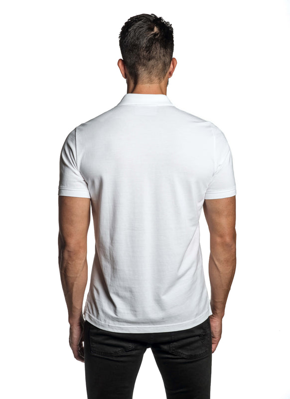 White with Dinosaur Pima Cotton Polo for Men P-49 - Back - Jared Lang