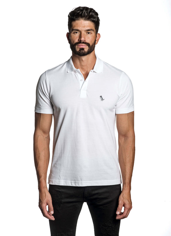 White with Dinosaur Pima Cotton Polo for Men P-49 - Front - Jared Lang