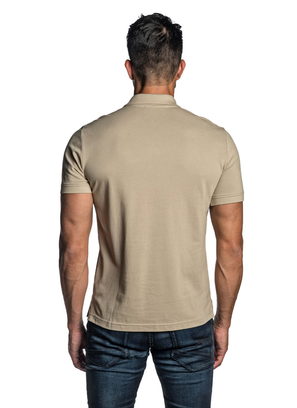 Sand Beige with Star Pima Cotton Polo for Men P-52 - Back - Jared Lang