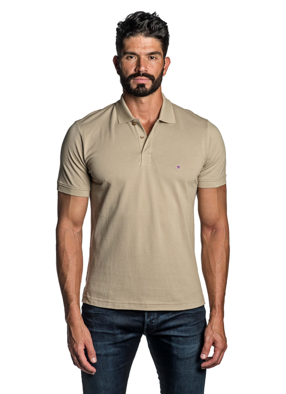 Sand Beige with Star Pima Cotton Polo for Men P-52 - Front - Jared Lang