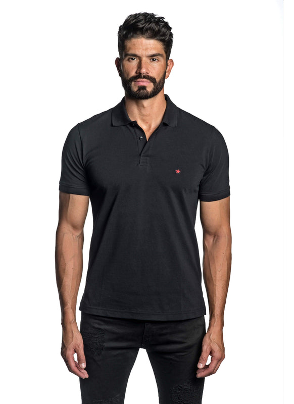 Black with Star Pima Cotton Polo for Men P-53 - Front - Jared Lang