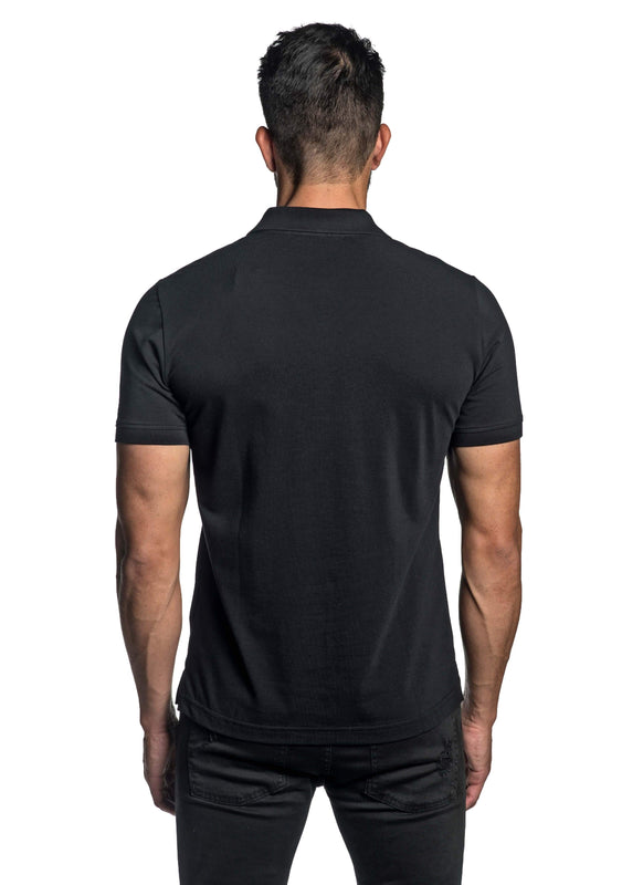 Black with Star Pima Cotton Polo for Men P-53 - Back - Jared Lang