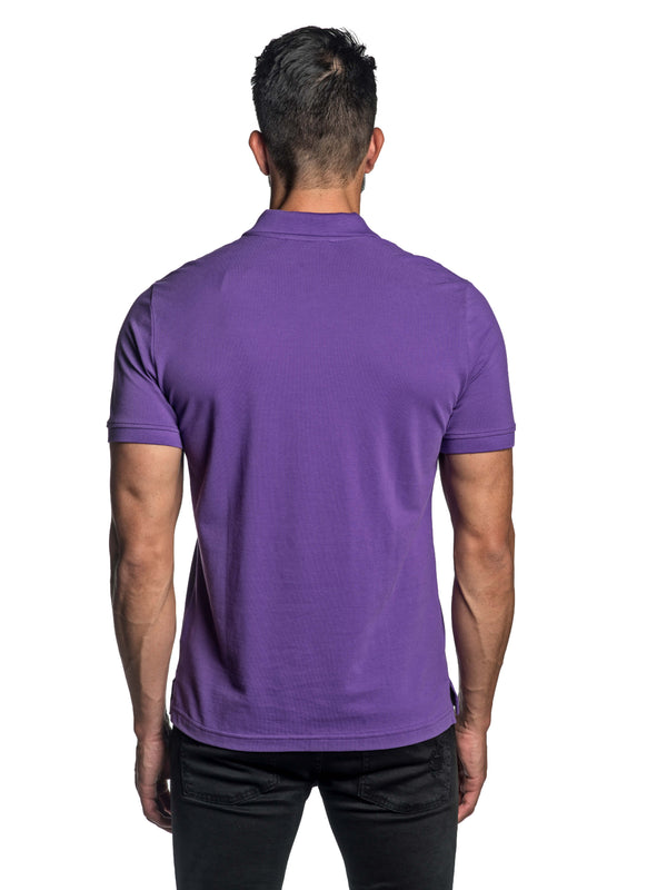 Purple with Star Pima Cotton Polo for Men P-55 - Back - Jared Lang