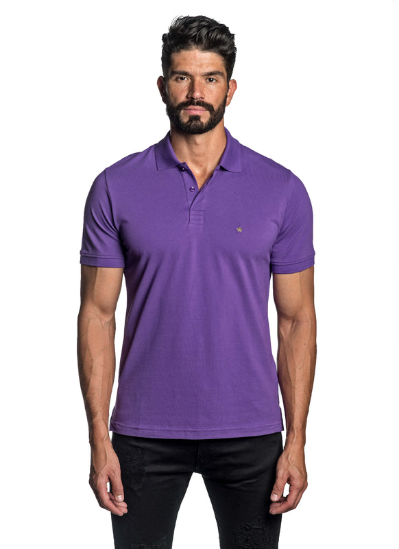 Purple with Star Pima Cotton Polo for Men P-55 - Front - Jared Lang
