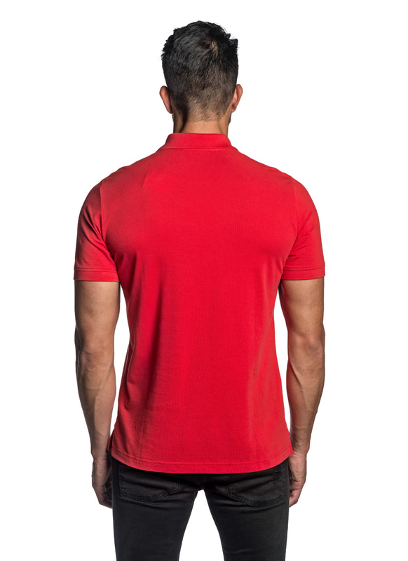 Red with Star Pima Cotton Polo for Men P-56 - Back - Jared Lang