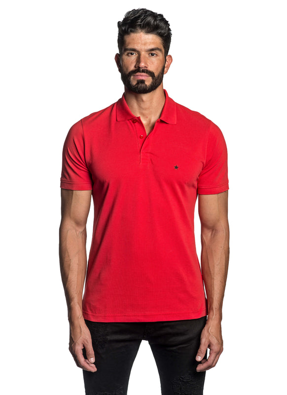 Red with Star Pima Cotton Polo for Men P-56 - Front - Jared Lang