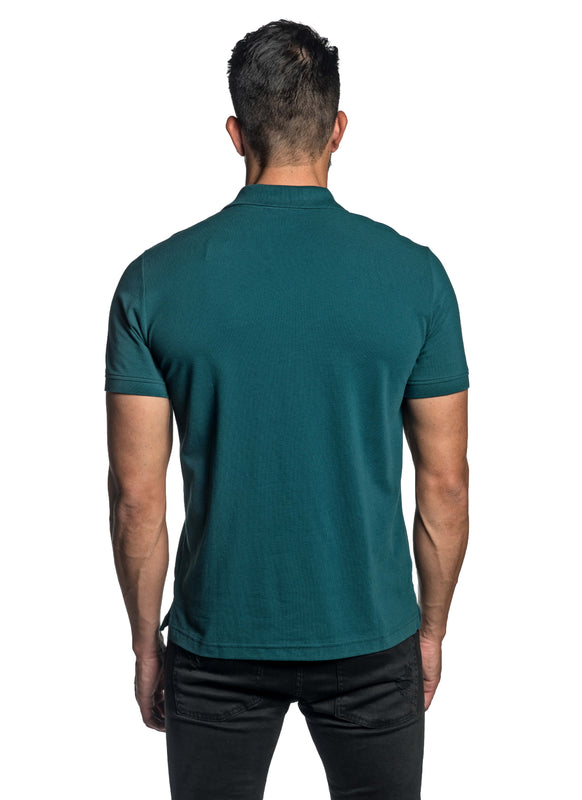Teal with Star Pima Cotton Polo for Men P-58 - Back - Jared Lang