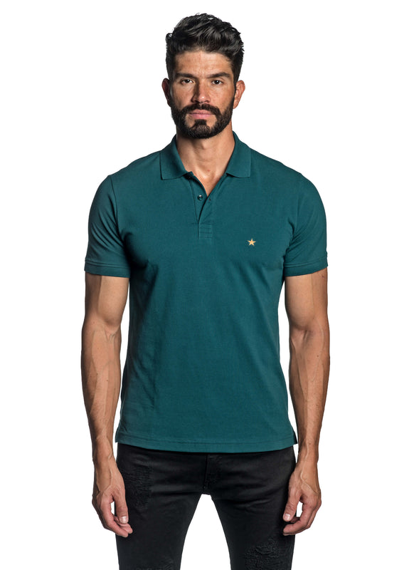 Teal with Star Pima Cotton Polo for Men P-58 - Front - Jared Lang