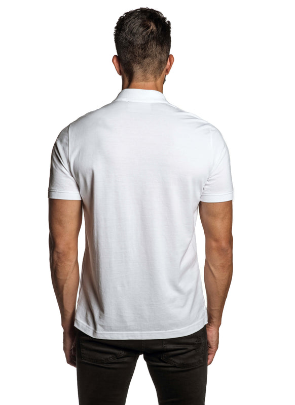 White with Star Pima Cotton Polo for Men P-59 - Back - Jared Lang