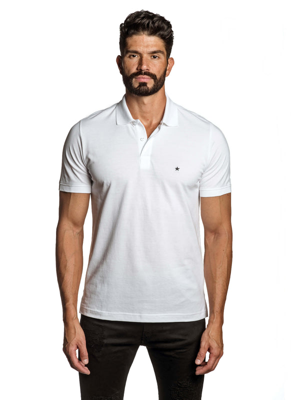 White with Star Pima Cotton Polo for Men P-59 - Front - Jared Lang