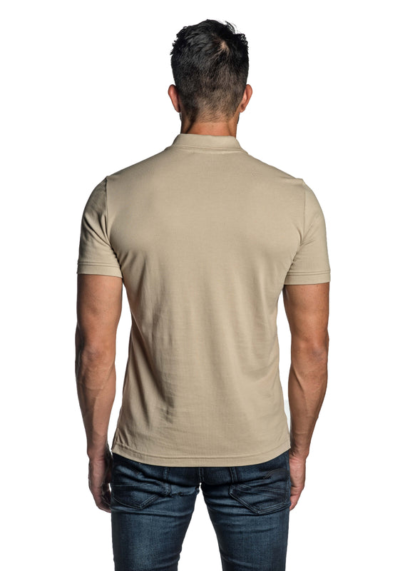Sand Beige with Lightning Pima Cotton Polo for Men P-62 - Back - Jared Lang