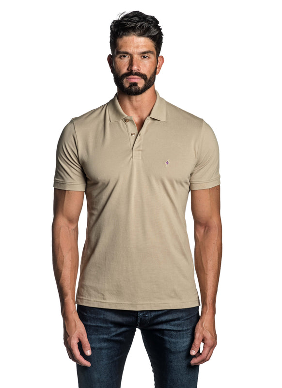 Sand Beige with Lightning Pima Cotton Polo for Men P-62 - Front - Jared Lang