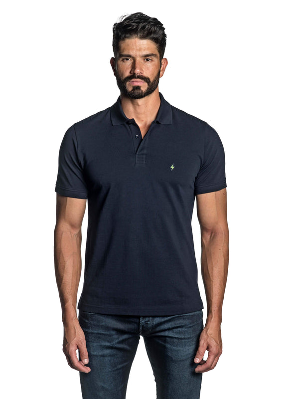 Navy Blue with Lightning Pima Cotton Polo for Men P-64 - Front - Jared Lang