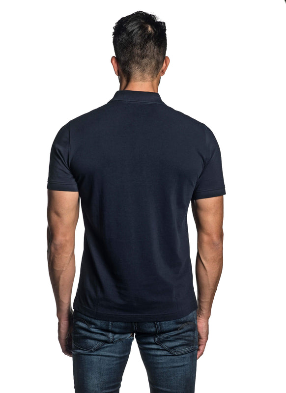 Navy Blue with Lightning Pima Cotton Polo for Men P-64 - Back - Jared Lang