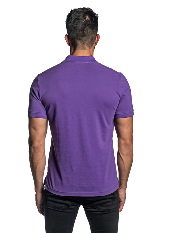 Purple with Lightning Pima Cotton Polo for Men P-65 - Back - Jared Lang