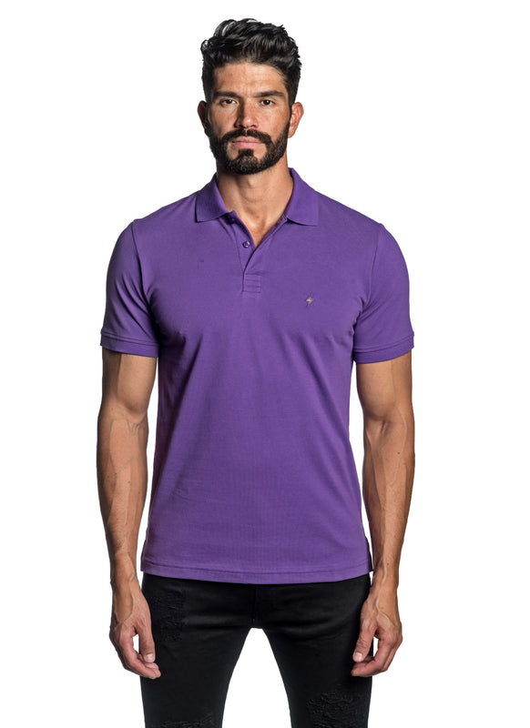 Purple with Lightning Pima Cotton Polo for Men P-65 - Front - Jared Lang