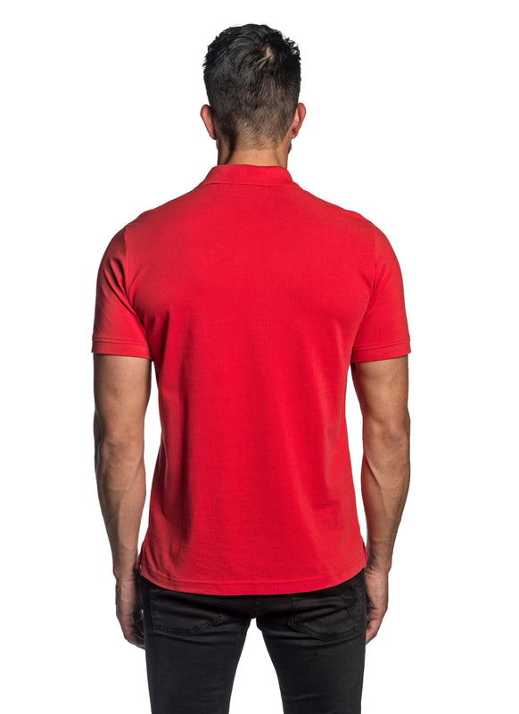 Red with Lightning Pima Cotton Polo for Men P-66 - Back - Jared Lang