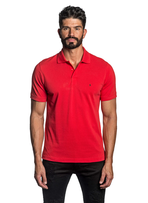 Red with Lightning Pima Cotton Polo for Men P-66 - Front - Jared Lang