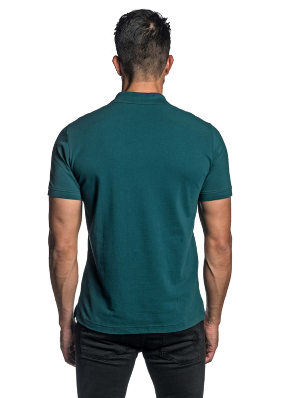 Teal with Lightning Pima Cotton Polo for Men P-68 - Back - Jared Lang