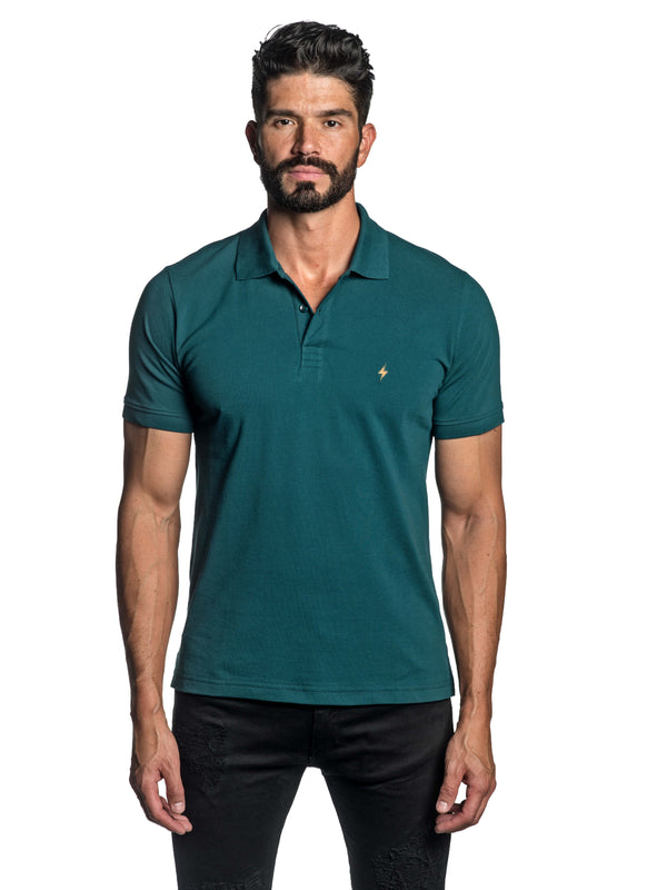 Teal with Lightning Pima Cotton Polo for Men P-68 - Front - Jared Lang