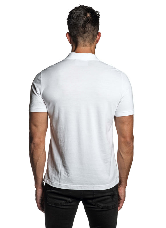 White with Lightning Pima Cotton Polo for Men P-69 - Back - Jared Lang