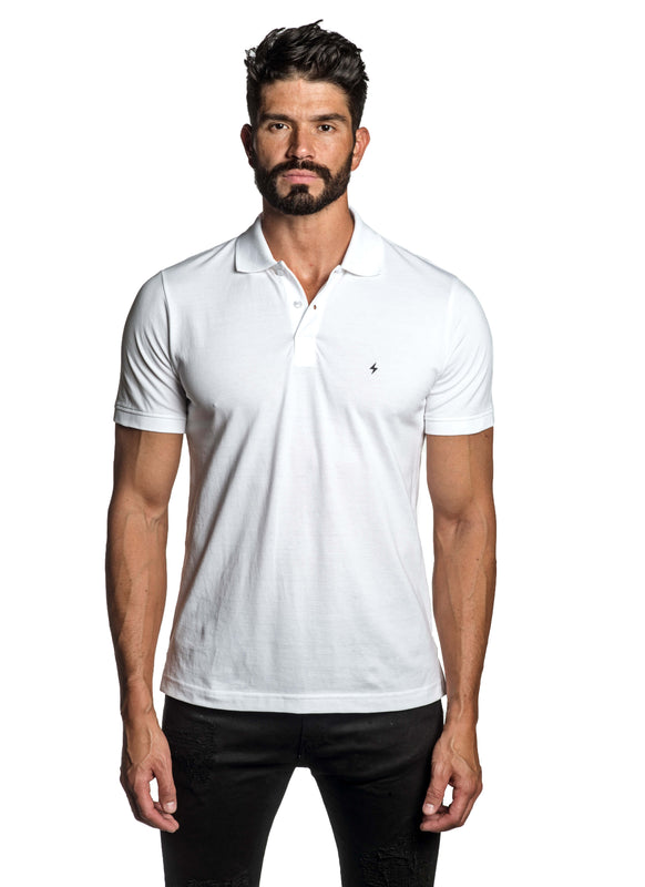 White with Lightning Pima Cotton Polo for Men P-69 - Front - Jared Lang